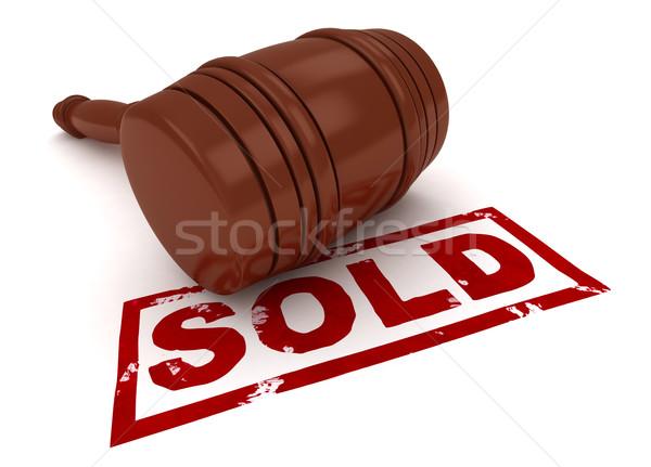 Uitverkocht 3d illustration hamer werk uitwisseling veiling Stockfoto © lenm
