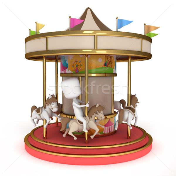 Man carrousel 3d illustration een paardrijden leuk Stockfoto © lenm