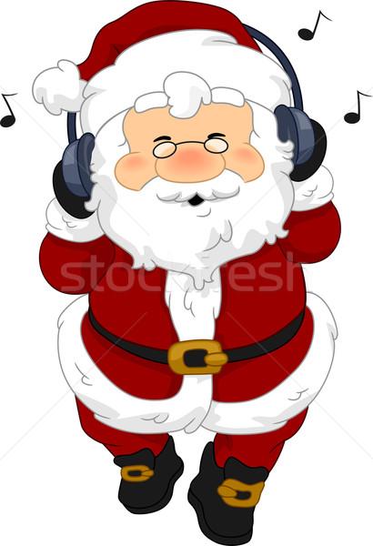 Papai noel fones de ouvido ilustração ouvir música férias vetor Foto stock © lenm