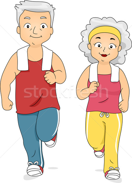 Jogging couple illustration vieux couple ensemble femme Photo stock © lenm