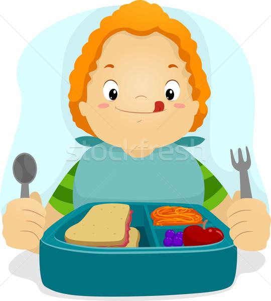 Ebédidő illusztráció gyerek eszik ebéd fiú Stock fotó © lenm