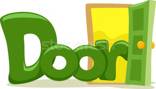 Ajtó szöveg illusztráció szó levél olvas Stock fotó © lenm