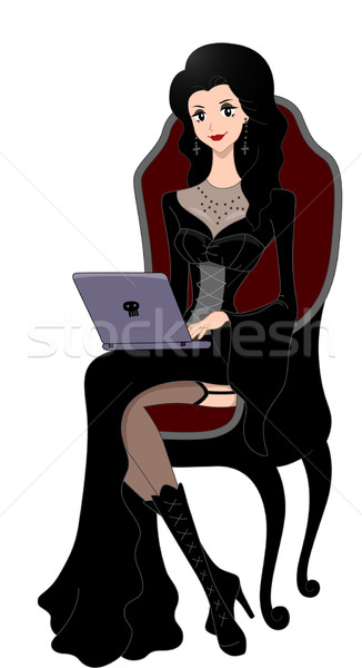 Gothic Girl Laptop Stock photo © lenm
