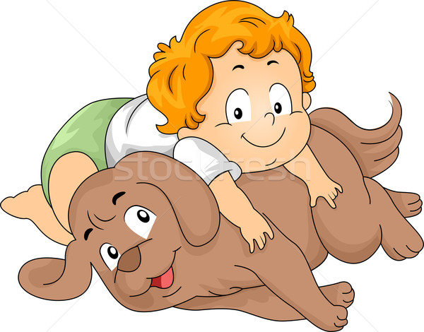 Toddler Boy with Dog Stock photo © lenm