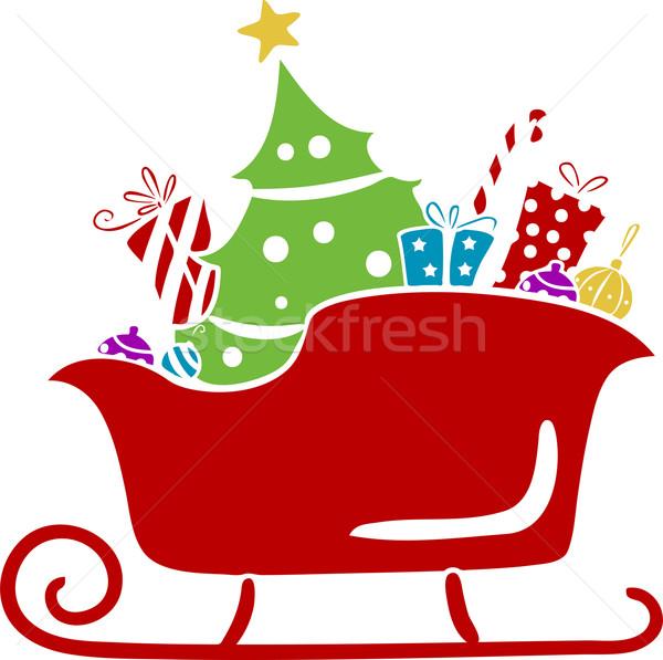 Christmas slee geschenken stencil illustratie Stockfoto © lenm