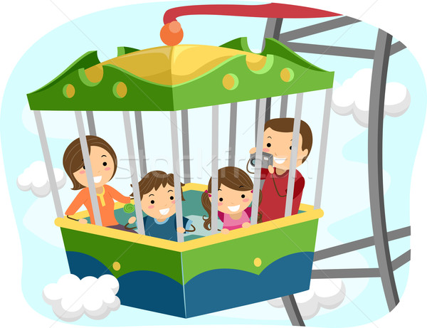 Grande roue famille illustration à l'intérieur voiture enfants Photo stock © lenm