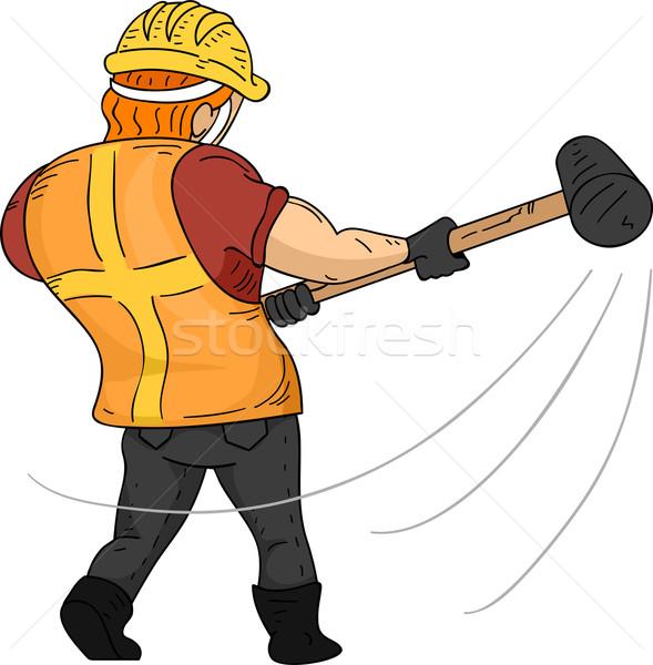 Homem ver de volta ilustração muscular trabalhador Foto stock © lenm