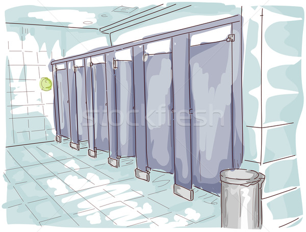 Public toilettes illustration art croquis vecteur Photo stock © lenm