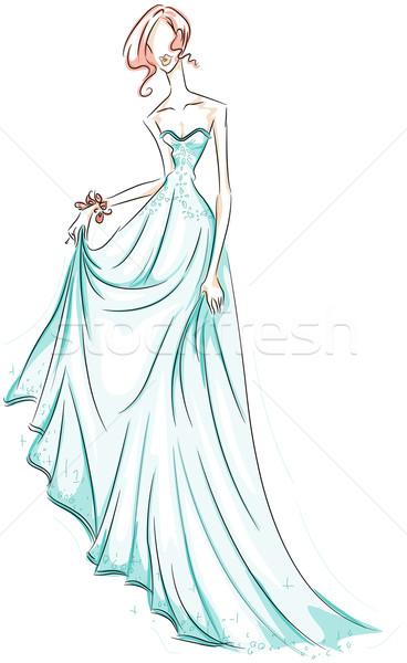 Lány talár rajz vágási körvonal nő művészet Stock fotó © lenm
