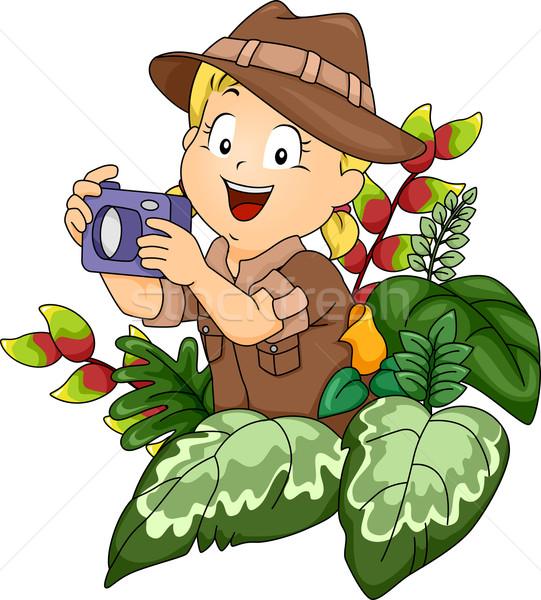Safari kamera örnek küçük kız kız Stok fotoğraf © lenm