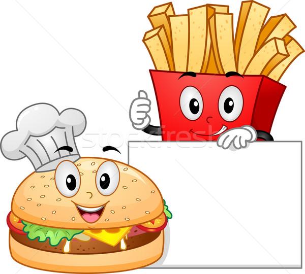Burger fries mascote ilustração empacotar posando Foto stock © lenm
