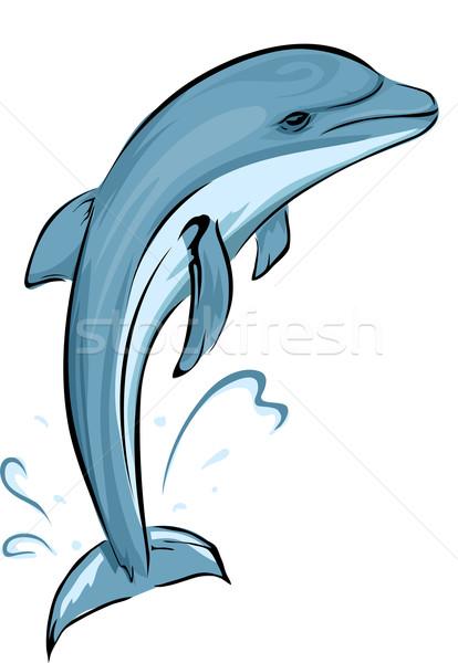 Dauphins illustration sport subaquatique société parc Photo stock © lenm
