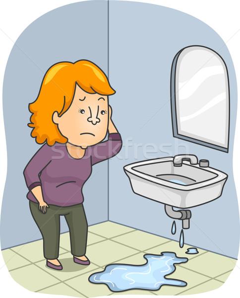 Pipe fuite illustration femme eau numérique Photo stock © lenm