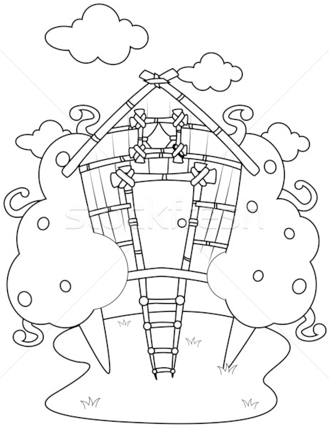 Line Art Tree House Stock photo © lenm