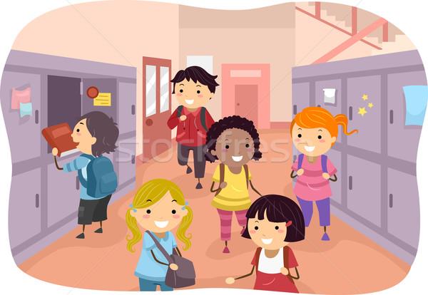 Dzieci szkoły korytarzu ilustracja około dziecko Zdjęcia stock © lenm