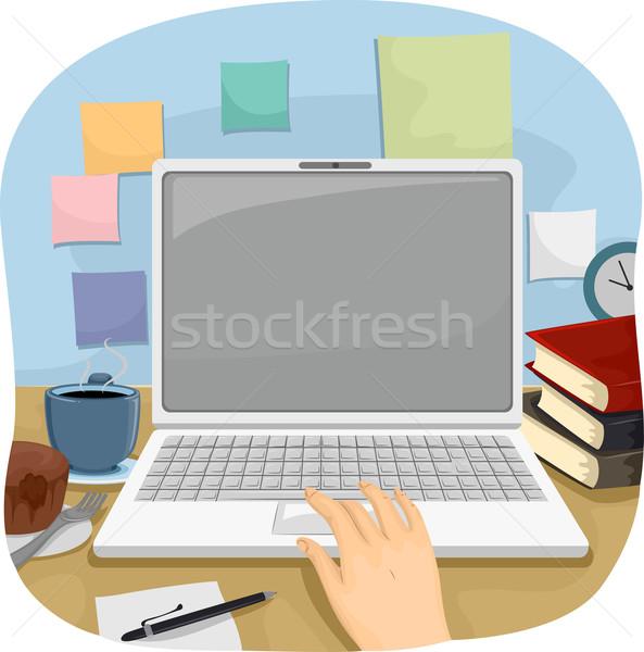 Eller dizüstü bilgisayar çalışmak örnek kişi dizüstü bilgisayar kullanıyorsanız Stok fotoğraf © lenm