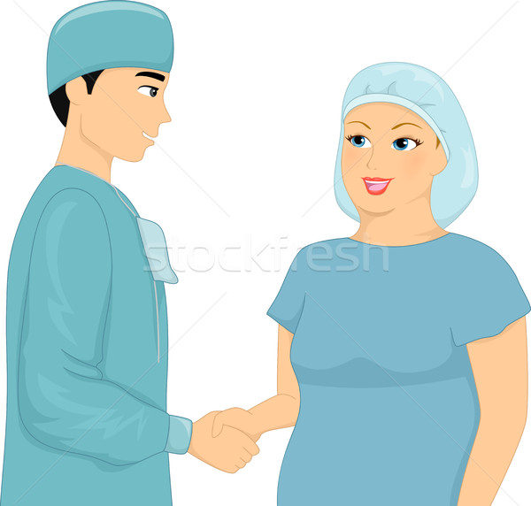 Liposuccion patient chirurgien handshake illustration femme Photo stock © lenm