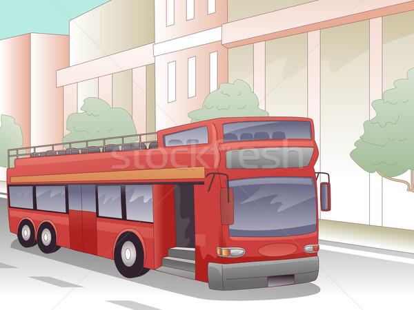 Podwoić autobus miasta ilustracja Londyn Zjednoczone Królestwo Zdjęcia stock © lenm