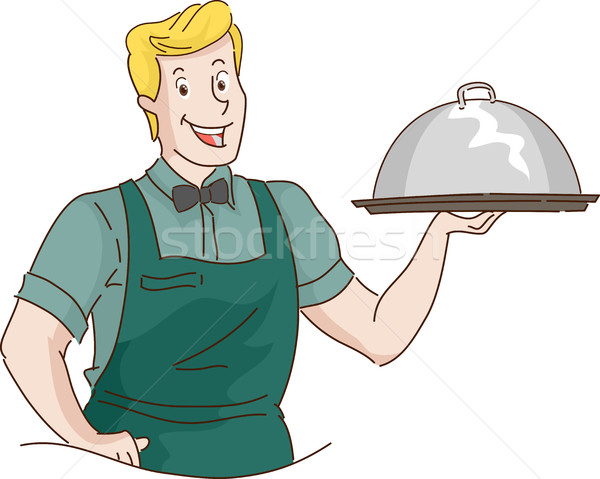 Man Retro Waiter Carrying Food Dome Stock photo © lenm