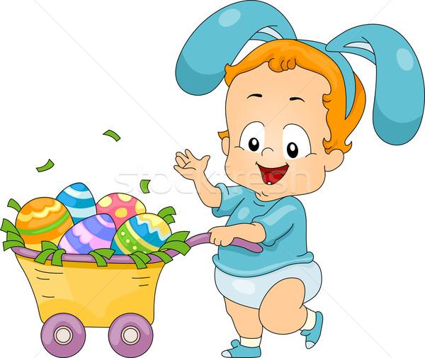 ребенка пасхальное яйцо корзины иллюстрация пасхальных яиц Сток-фото © lenm