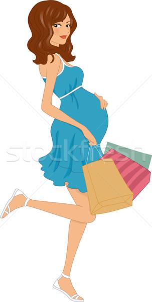 Foto stock: Embarazadas · ilustración · nina