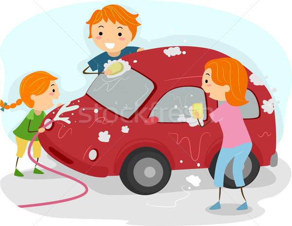 Család lomtár illusztráció mosás autó férfi Stock fotó © lenm
