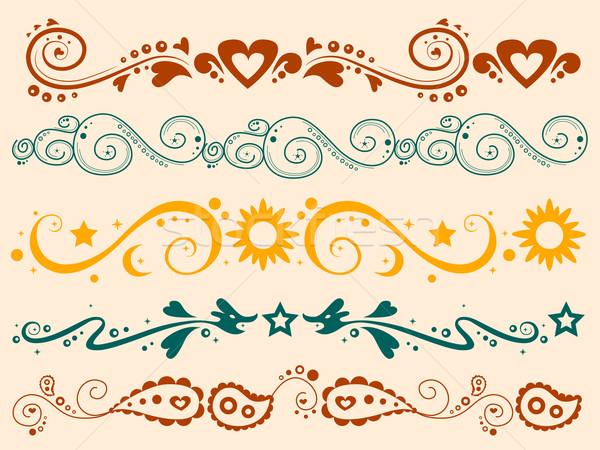 Colored Silhouette Border Banner Stock photo © lenm