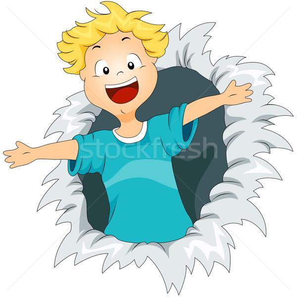 рваной бумаги ребенка счастливым мальчика сумку Сток-фото © lenm
