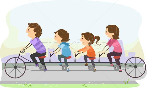 семьи верховая езда тандем велосипед иллюстрация дети Сток-фото © lenm