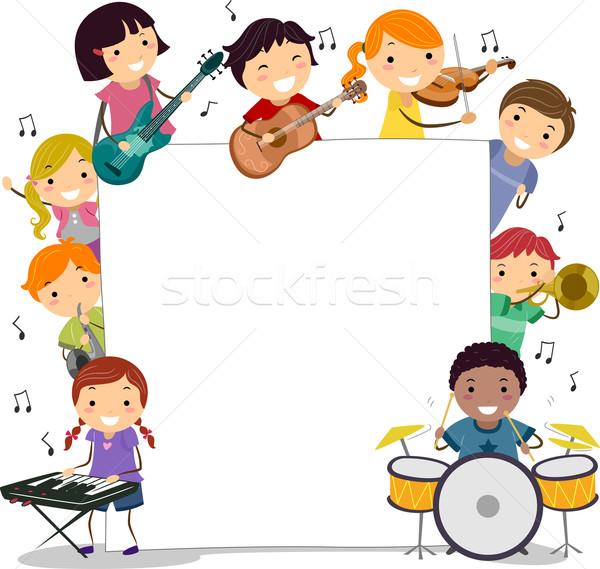 Musical gyerekek illusztráció tart hangszerek lány Stock fotó © lenm