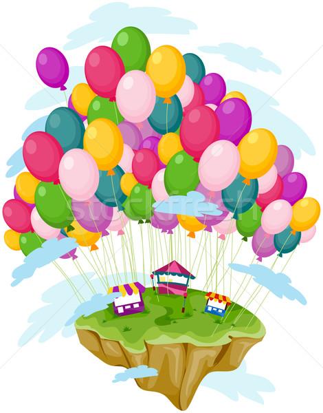 Flutuante ilha transportado balões Foto stock © lenm