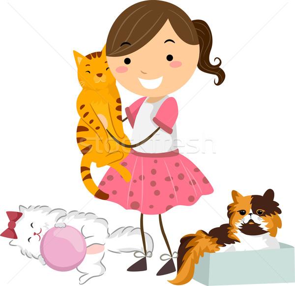 Cat Girl Stock photo © lenm