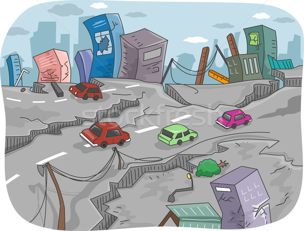 Aardbeving illustratie stad ruines gebouwen snelweg Stockfoto © lenm
