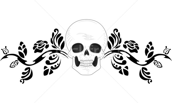 Skull Tattoo Stencil Stock photo © lenm