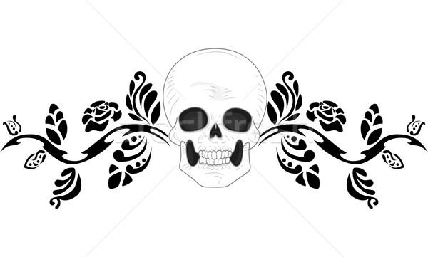 Schedel tattoo stencil illustratie ontwerp zwarte Stockfoto © lenm