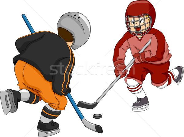 Jégkorong fiúk illusztráció kicsi játszik gyerekek Stock fotó © lenm