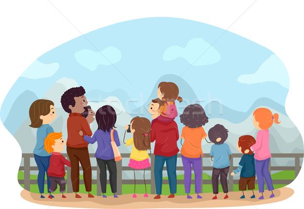 Család városnézés hátulnézet illusztráció családok élvezi Stock fotó © lenm
