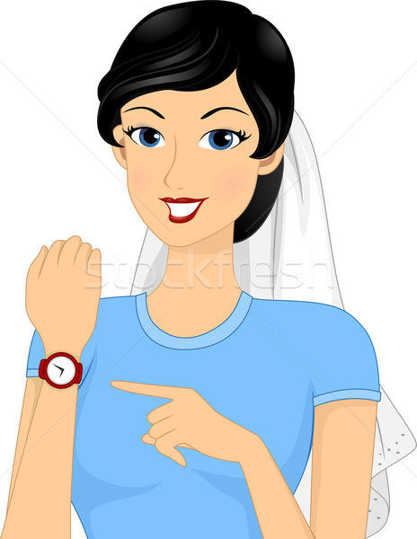 Leeftijd illustratie bruid wijzend vrouw horloge Stockfoto © lenm