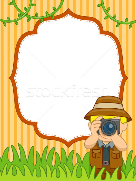 Safari marco de imagen ilustración hombre toma fotos Foto stock © lenm