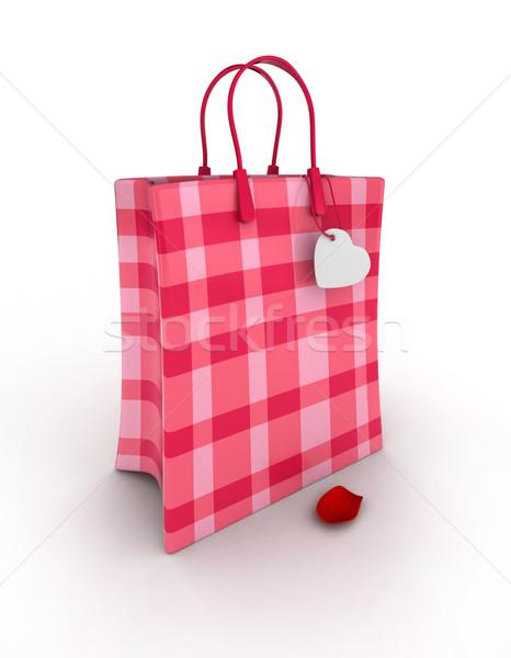 Torby papierowe 3d ilustracji cute różowy romans torbę na zakupy Zdjęcia stock © lenm