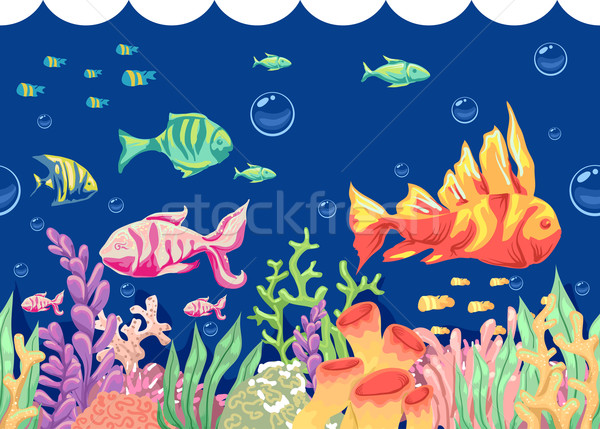 Subaquatique poissons coloré illustration natation Photo stock © lenm