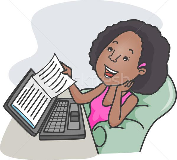 Ebook ilustracja dziewczyna czytania elektronicznej książki Zdjęcia stock © lenm