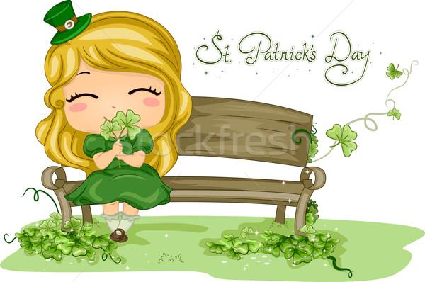 Criança shamrock ilustração menina criança Foto stock © lenm