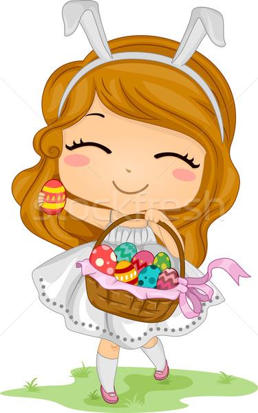 Girl Carrying Easter Basket Stock photo © lenm
