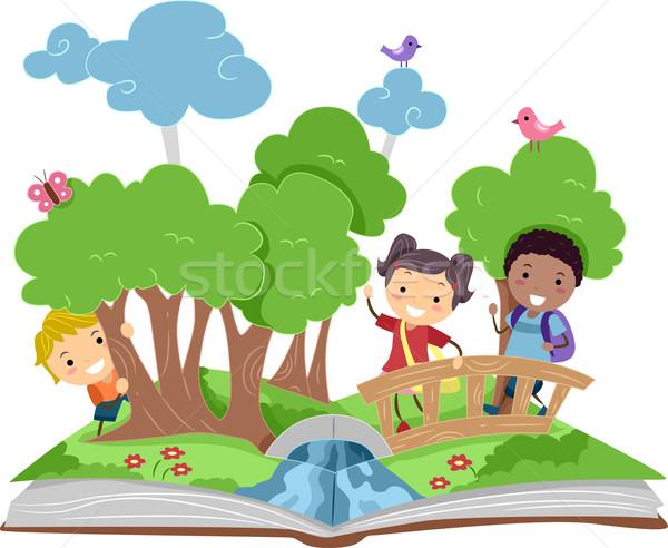 Pop yukarı kitap örnek orman doğa Stok fotoğraf © lenm