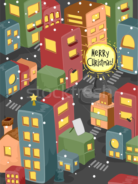 Christmas Cityscape Stock photo © lenm