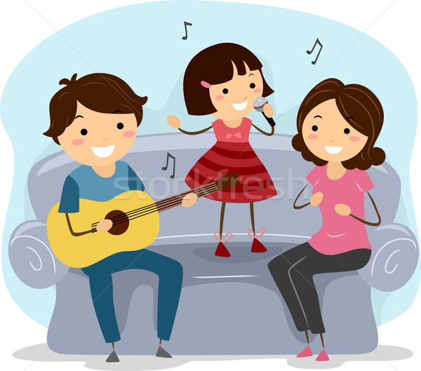 Cantando familia ilustración junto hombre guitarra Foto stock © lenm