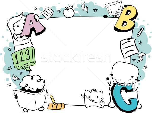 Educación garabato marco ilustración educativo cute Foto stock © lenm