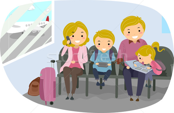 Stickman Family in an Airport Stock photo © lenm