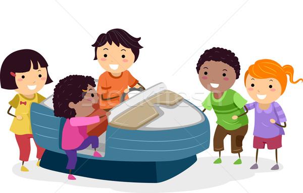 Lancha crianças ilustração equitação máquina criança Foto stock © lenm